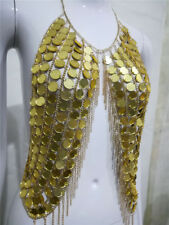 Music Festival Club Party Hand Made Acrylic Sequins Bra Body Chain Halter Top
