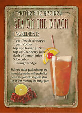 SEX ON THE BEACH  COCKTAIL RECIPE,CAFE PUB, MAN SHED,HOME DECOR:METAL SIGN