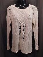 PINK ROSE Cream Long Sleeve Open Knit Sweater TOP Jr. Women's Size MEDIUM