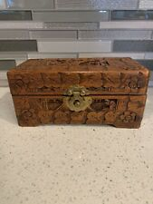 Vintage Antique Hand Carved Wooden Box From Hong Kong Jewelry or Trinket Box