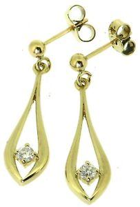 Solid 9Carat 9ct yellow gold round diamond drop dangle earrings post scrolls