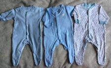 3 Primark Blue Patterned Baby Boys Sleepsuits. Age 0-3 Months