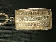 1978 Nevada City Mint .999 Silver Bar Pendant #958 with Sterling Necklace