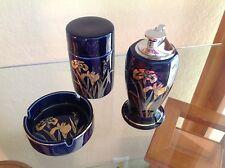 Vintage Japanese  porcelain cigarette smoking set ~ COBALT BLUE