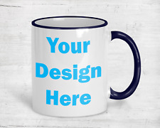Personalized Coffee Mug Blue Handle 11oz  Cup Custom Photo Text Logo Gift New