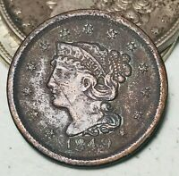 1849 Large Cent Matron Braided Hair 1C High Grade Details US Copper Coin CC5812