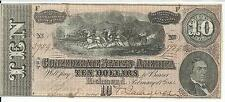 CSA 1864 Confederate Currency T68 $10 Note Horses pull Cannon Caisson #59542
