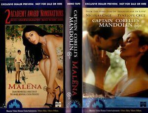 CAPTAIN CORELLIS MANDOLIN / MALENA -VHS-Time Coded-Video dealer Preview tape-PAL