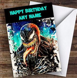 Venom Comic Character Children's Kids Personalised Birthday Card