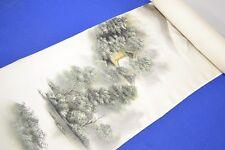 "Inutilizzati giapponese Argento / Bianco Seta ""HAND PAINT SCENE"" Kimono Bullone / tessuto / tessili"