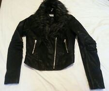 New URBAN BLISS BLACK FAUX  LEATHER JACKET SIZE 10
