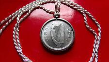 "1942 Irish Silver Shilling Bull Harp Coin Pendant 24"" ITALY Silver Rope Chain"