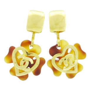 CHANEL CC Logos Charm Tortoiseshell Shaking Earrings Clip-On 95P 41020