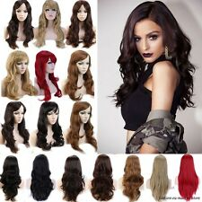 UK Full Head Wigs Hair Real feel as Human Curly Straight Wavy Wig Cap Hair Nets
