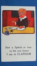Vintage Reg Carter Comic Postcard 1910s CLAPHAM Ink Well Pen Theme
