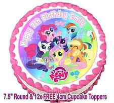 "EDIBLE MY LITTLE PONY RAINBOW 7.5"" ICING GIRLS PERSONALISED CAKE CUPCAKE TOPPERS"