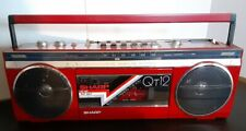 80'S Red Sharp Qt12R Stereo Radio Cassette Player Recorder Boombox Tested Nice!