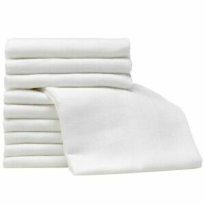 12x White Large Soft Muslin Squares 100% Cotton Baby Muslin Cloth/Swaddle(70x70)
