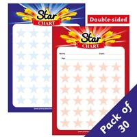 30 Double Sided Star Chart Motivational Childrens Pupils School Teachers Praise Sticker Reward Cards A5 Primary Teaching Services
