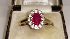 Vintage Uk Hallmarked 9ct Yellow Gold Ruby & White sapphire Cluster Ring,Sz N