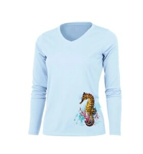 Sea Fear Women's 50+ UPF Long Sleeve Rash Guard Scuba Snorkeling Seahorse Reef A