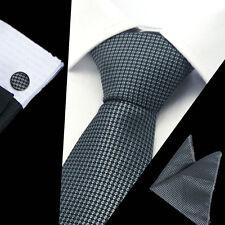 Mens 100% Silk Neckties Black Tie Hanky Cufflinks Sets Free S&H Start TS-1075