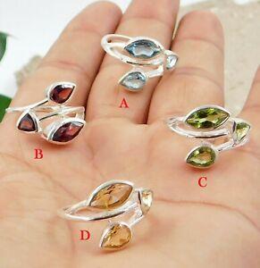 Solid 925 Sterling Silver Citrine Blue Topaz Garnet Gemstone Handmade Gift Ring