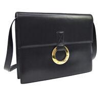 CELINE Ring Motif Cross Body Shoulder Bag Purse Black Leather Authentic NR15345