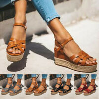 PU Leather Wedges Sandals Women High Heels Platform Summer Shoes Flats Fashion