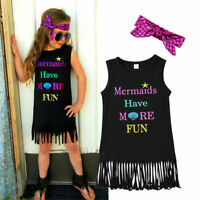US Mermaid Girls Princess Dress Kids Baby Party Pageant Tassels Dresses Clothes