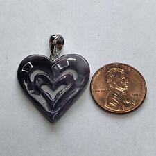 P3407 Wampum Quahog Double Heart Pendant Sterling Silver