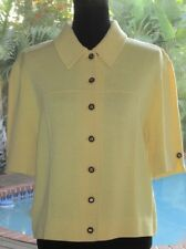 Pastel Lemon~Yellow ST JOHN Cardigan Sweater Jacket  14 L FR44