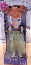 "Disney Frozen Anna Toddler Doll 16"" Green Sparkle Dress"