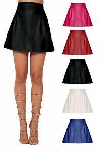 Womens Faux Leather Skirt Plain Wet Look Glossy