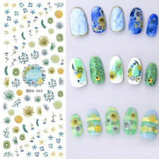 1 Sheet Dried Flowers Nail Art Water Decal Lemon Fruit Transfer Stickers DS343