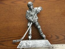 male Hockey trophy statue resin award brushed silver 7 3/4""