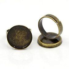 10pcs Antique Bronze Adjustable Shanks Pad Ring Base Findings DIY for Cabochons
