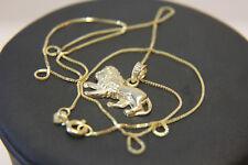 Zarte Venezianer Kette 585 14K ECHT GOLD mit Löwen Anhänger 45cm NEUWERTIG Lion