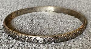 Vintage Danecraft Sterling Silver Floral Bangle