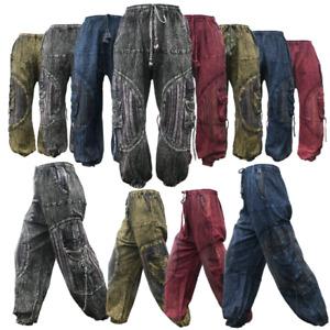 Aztec Patchwork Stonewash Pants Mens Womens Harem Hippie Baggy  Gypsy Trousers