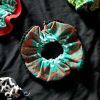 Handmade Large scrunchie retro flip side black pom pom trim | Festival | design