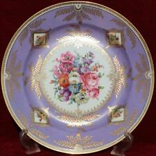 ANTIQUE SEVRES STYLE HAND PAINTED VIOLET ORNITHOLOGICAL PORCELAIN CABINET PLATE