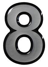 3D Aufkleber Hotelzimmer Briefkasten Hausnummer 900061 in Silber 1x Nummer 8