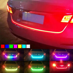 "New 47"" RGB LED Car Trunk Sliding Light Strip Tailgate Edge Brake Turn Signal"
