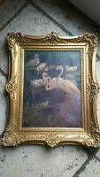 William Henry Drake 1856-1926  Oil on canvas  Flamingos. Jungle Book Illustrator