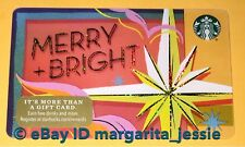 """STARBUCKS US GIFT CARD """"MERRY & BRIGHT"""" HOLIDAY 2017 NEW NO VALUE #6142"""