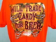 Orange 3XL Halloween T-Shirt Will Trade Candy for Beer by Jerzees Cotton