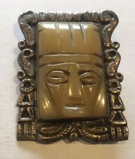VINTAGE MADE IN MEXICO SILVER ORNATE FRAME CARVED MAYAN FACE PIN BROOCH