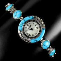 Blue Turquoise Dial Mother Of Pearl Marcasite 925 Sterling Silver Watch 7.5 Inch