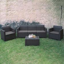 Set da giardino resina colore antracite poltrone divano con cuscini e tavolino